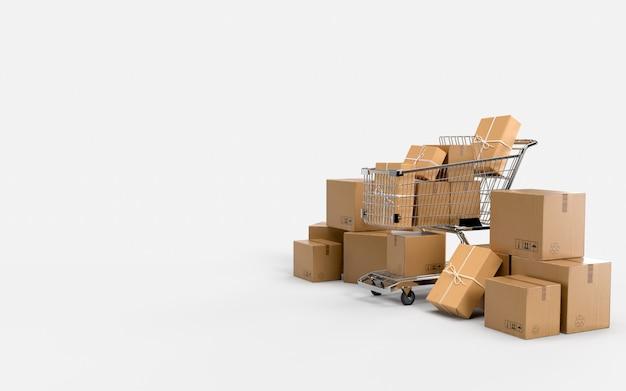 Embalagem de papelão e carrinho de compras aguardam envio rápido. remessa no negócio de comércio eletrônico on-line para check-out pelo consumidor.