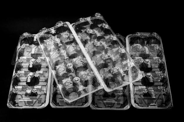 Embalagem de plástico reciclável com 10 ovos usados no japão isolados em fundo preto