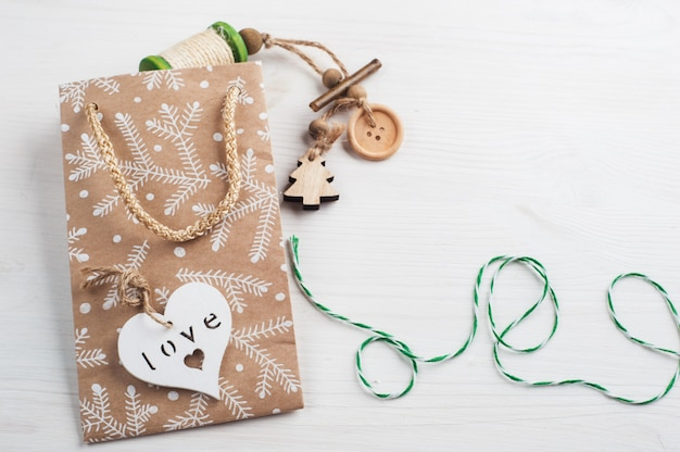 Embalagem de presente de natal, cordel de embrulho