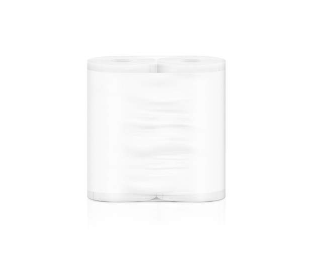 Embalagem de rolo de guardanapo branco em branco, isolada