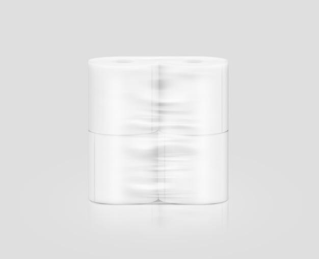 Embalagem de rolo de papel higiênico branco em branco, isolada