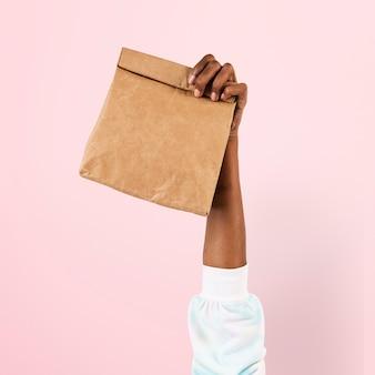 Embalagem de saco de papel para conceito de comida