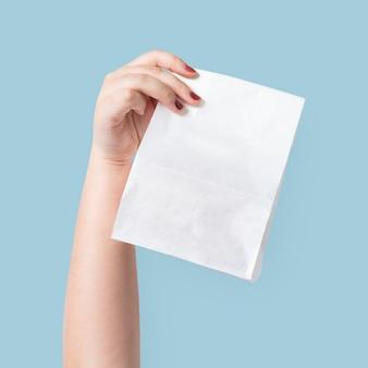 Embalagem de saco de papel para o conceito de comida para viagem