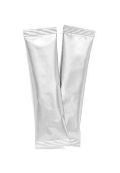 Embalagem em branco folha de alumínio café vara isolado