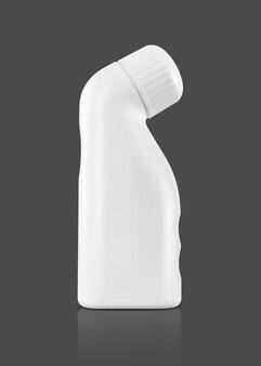 Embalagem em branco, garrafa de plástico branca para maquete de design de produto de medicamento de linimento isolada em fundo cinza com traçado de recorte