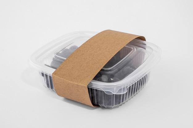 Embalagem plástica de ângulo alto com mirtilos