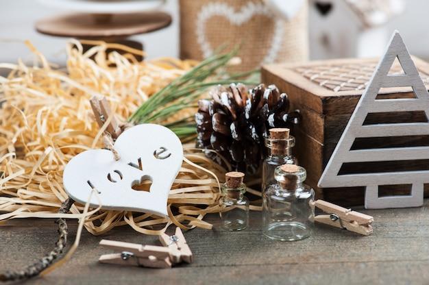 Embalagem presente de natal, brinquedos vintage de madeira