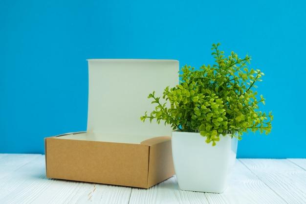 Embalagem vazia caixa de papelão marrom ou bandeja e pequena árvore