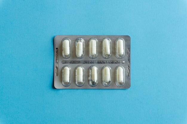 Embalagens de comprimidos (drogas) vista superior