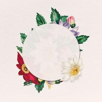 Emblema botânico redondo com moldura de flor de teia de aranha