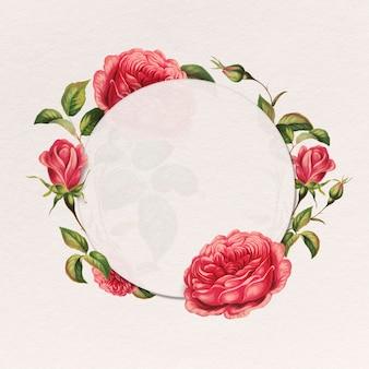 Emblema botânico redondo com moldura de rosa vermelha