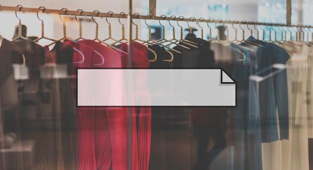Emblema de banner da caixa de pesquisa de roupas