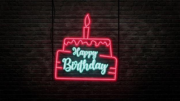 Emblema de sinal de néon de feliz aniversário em estilo néon no fundo da parede de tijolos