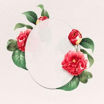 Emblema oval floral com moldura de rosa vermelha