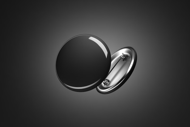 Emblemas de botão preto em branco