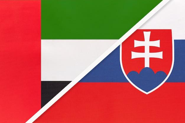 Emirados árabes unidos e eslováquia, símbolo das bandeiras nacionais