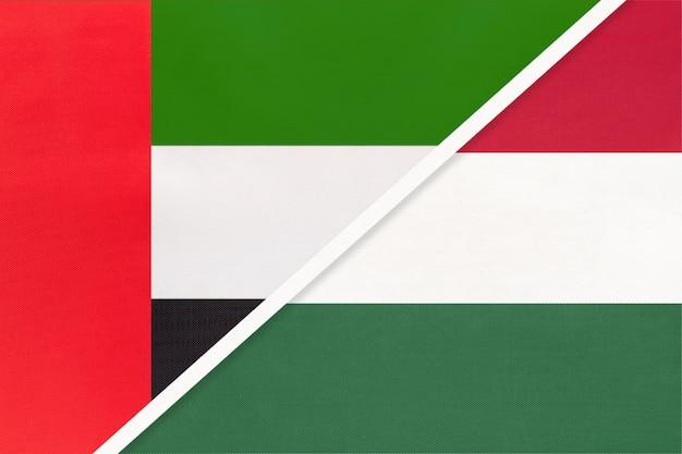 Emirados árabes unidos e hungria, símbolo das bandeiras nacionais