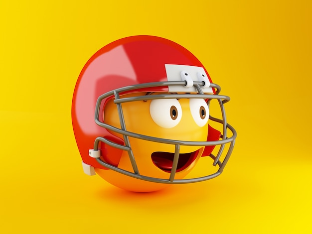 Emoji 3d com capacete de futebol americano