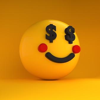 Emoji 3d com olhos de dólar
