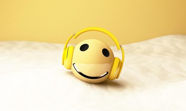 Emoji amarelo 3d com fones de ouvido