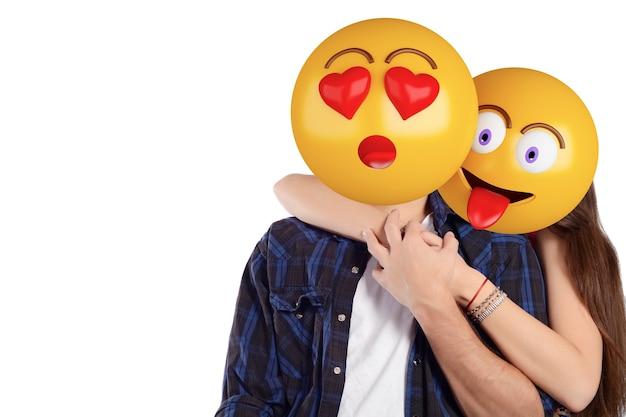 Emoji cabeça homem e mulher. casal bonito.