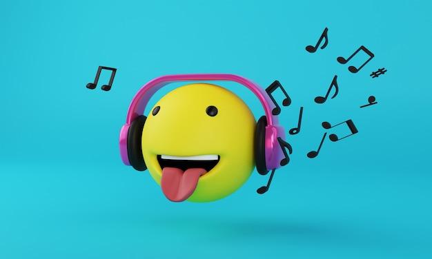 Emoji com fone de ouvido e renderização 3d de música em fundo azul