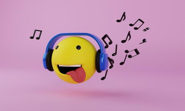 Emoji com fone de ouvido e renderização 3d de música em fundo rosa claro