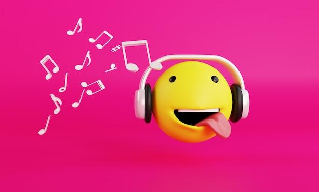 Emoji com fone de ouvido e renderização 3d de música em fundo rosa