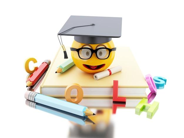 Emoji da graduação 3d com tampão e diploma da graduação.