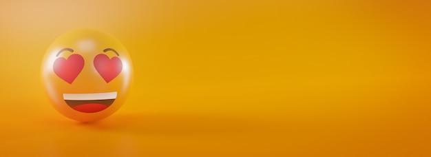 Emoji de olho de amor feliz no conceito de mídia social amarela