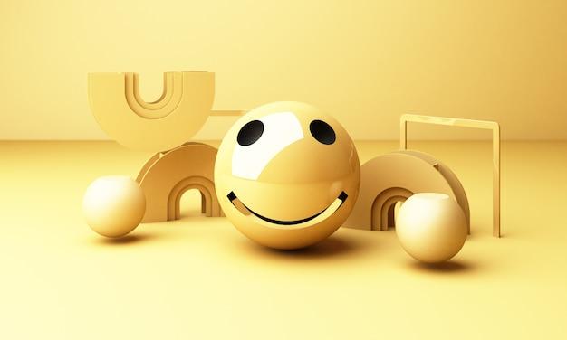 Emoji de rosto sorridente com sorriso em fundo amarelo - emoticon mostrando uma verdadeira sensação de felicidade com forma geométrica amarela renderização em 3d