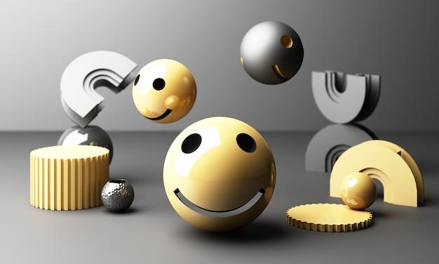 Emoji de rosto sorridente com sorriso em fundo cinza - emoticon mostrando uma verdadeira sensação de felicidade com forma geométrica amarela renderização em 3d