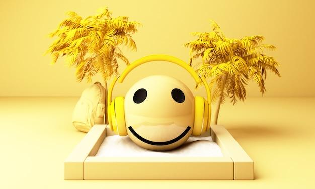 Emojis amarelos 3d com fones de ouvido e palmeiras