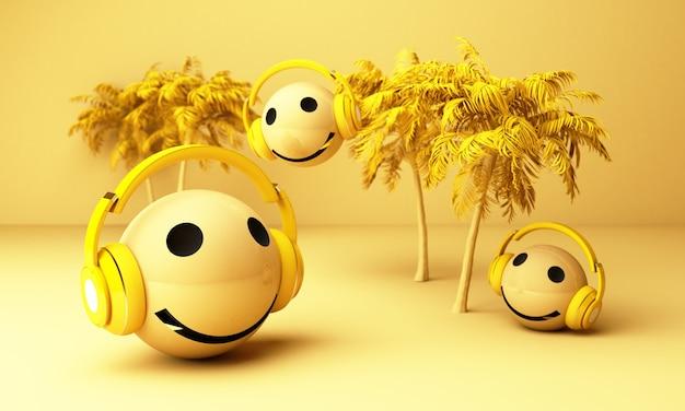 Emojis amarelos 3d com fones de ouvido e palmeiras Foto Premium