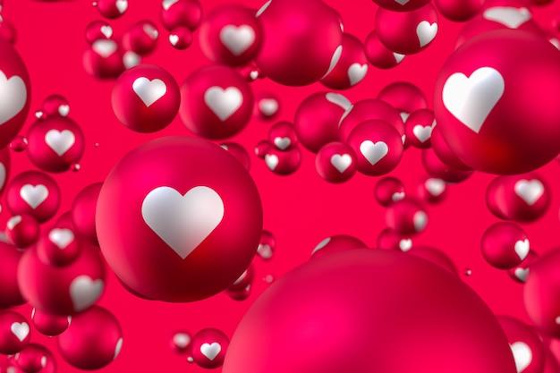 Emoticons de coração de reação do facebook Foto Premium