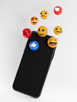Emoticons emoji de smartphone. renderização 3d do conceito de mídia social