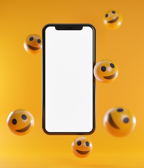 Emoticons smartphone e sorriso. renderização 3d do plano de fundo do conceito de mídia social