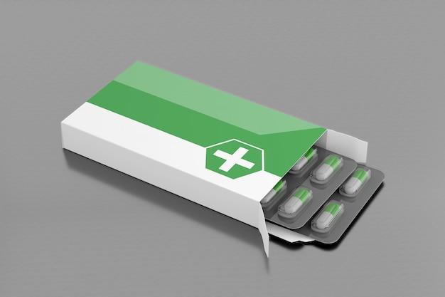 Empacotamento farmacêutico - rendição 3d