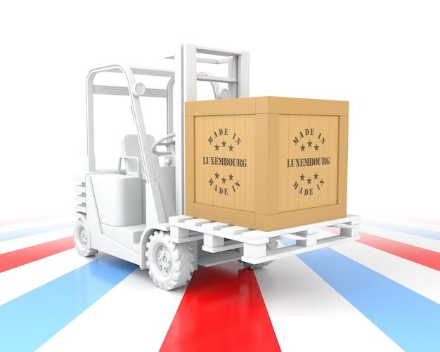 Empilhadeira com caixa de madeira made in luxembourg sobre palete. renderização 3d