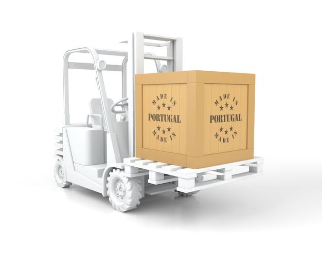 Empilhadeira com caixa de madeira made in portugal sobre palete. renderização 3d