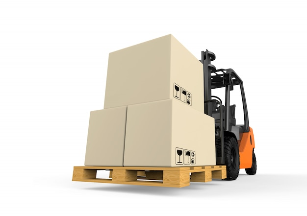 Empilhadeira com caixas isoladas em branco