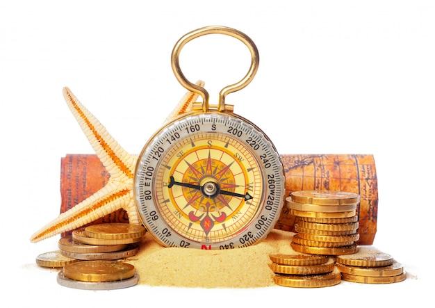 Empilhamento de moedas com bússola