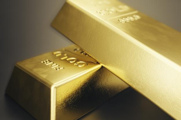 Empilhe barras de ouro close-up, peso de barras de ouro 1000 gramas conceito de riqueza e reserva. conceito de sucesso nos negócios e finanças. renderização em 3d
