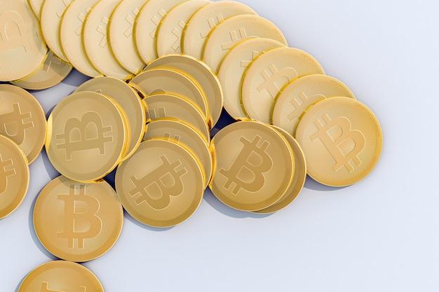 Empilhe bitcoins no fundo branco ilustração 3d de alta qualidade