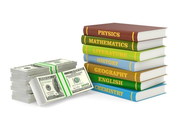 Empilhe livros escolares e dinheiro em fundo branco. ilustração 3d isolada
