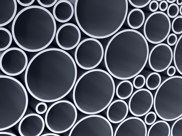 Empilhe tubos metálicos. renderização 3d