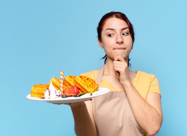 Empregada da padaria tty com waffles e bolos