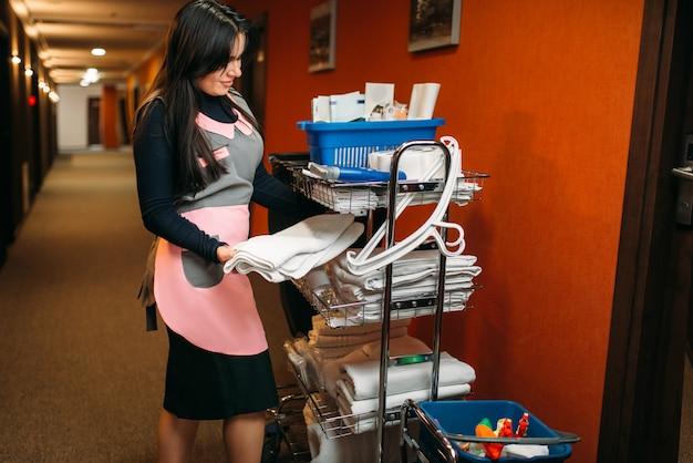 Empregada doméstica com equipamento de limpeza nas mãos
