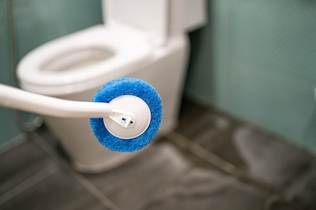 Empregada doméstica limpando o vaso sanitário com escova no banheiro em casa.