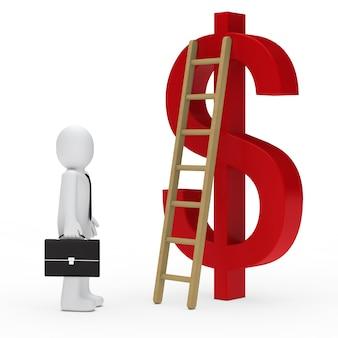 Empregado olhando para a escada ao lado do símbolo do dólar